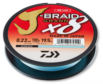 Плетено Влакно DAIWA J-BRAID GRAND X8 LIGHT BLUE  - 135м